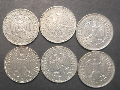 Germany 1950 F , 1954 F , 1956 J , 1962 D 1963 G  F Mark Coins (6) early dates