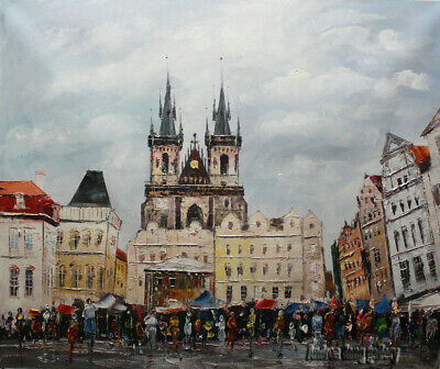 Original Prague Oil painting Wall art Decor On Canvas knife Hand Painted prg035