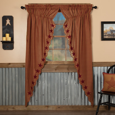 Burgundy Star Scalloped Cotton Country Primitive Window Long Prairie Curtains