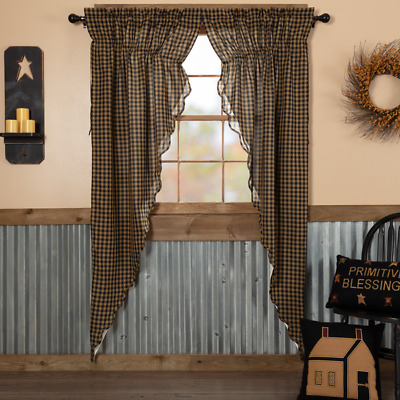 Black Check Scalloped Cotton Country Cottage Window Long Prairie Curtains