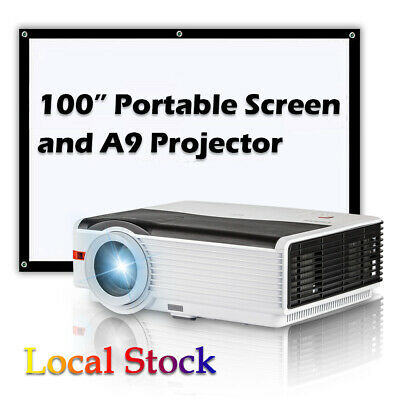 CAIWEI 1080P LED Home Theater Projector 10W Speaker Xbox 2*HDMI USB+100''  Screen