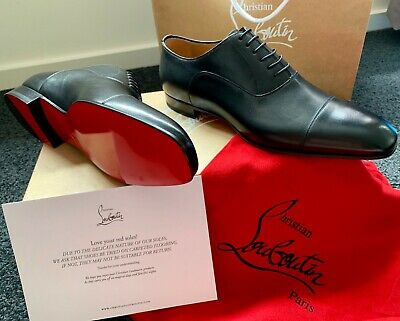 505f544186e CHRISTIAN LOUBOUTIN Black Calf Leather Greggo Flat Derby Shoes SIZE 10   43
