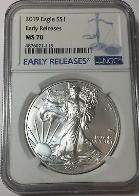 2019 NGC MS70 Silver Eagle EARLY RELEASES Blue Label