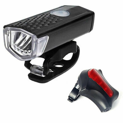 USB Rechargeable Bike Bicycle LED Head Front Light Tail Lamp Set UI SP