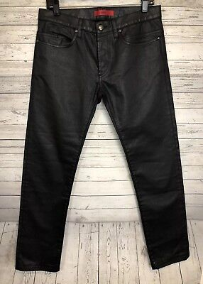202accbb4c9 New Hugo Boss Men Red Label Coated Jeans Black Button Fly Slick Finish Sz  31