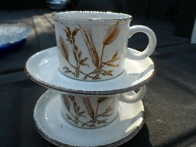 Midwinter Stonehenge Wild Oats  3 Sets Flat Cup & Saucer Vintage   Wedgwood