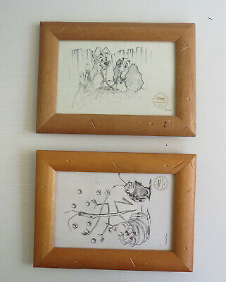 •••Lot of 2 DISNEY / Pixar drawings in a Frame • Commemorative Print SET•••