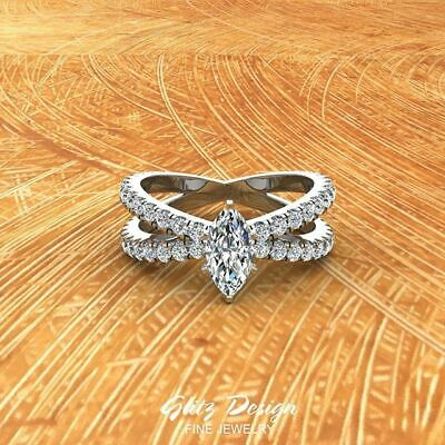Gorgeous Women wedding Rings 925 Silver Marquise Cut White Sapphire Size 6-10