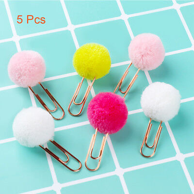 Honey 2 Pcs Kawaii Cute Hairball Gold Clip Modelling Plush Ball Paper Clip Bookmark Sealing Clamp School Supplies Stationery Office & School Supplies Clips