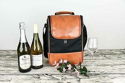 Wine Cooler Bag Insulated Portable 2 Bottle Canvas Carrier Bags - FREE SHIPPING