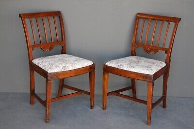18th century pair antique Gustavian chairs original 1790 carved Provincial Louis