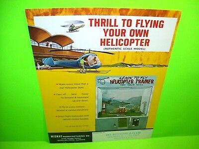 Midway HELICOPTER TRAINER Rare Original 1968 Arcade Game Flyer Flight Simulator