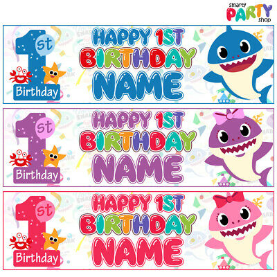 2x Personalised 1ST Birthday BABY SHARK Doo Doo Banner Kids Party Decoration