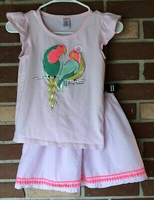 Gymboree Island Cruise 8 Pink Parrot Tee Shirt /& Striped Skirt set Girl