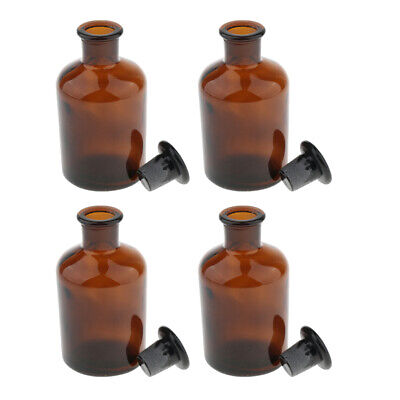4pcs Glass Lab Reagent Bottle Narrow Mouth Amber Lab Glassware 250ml