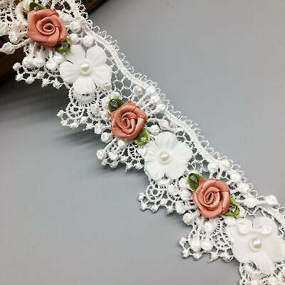 1 yd Soluble Wave Rose Flower Pearl Embroidered Fabric Lace Trim Ribbon Sewing