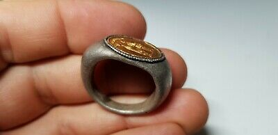 Roman Silver Marriage Ring with Gold Bezel -OMONIA 1st -3rd century AD