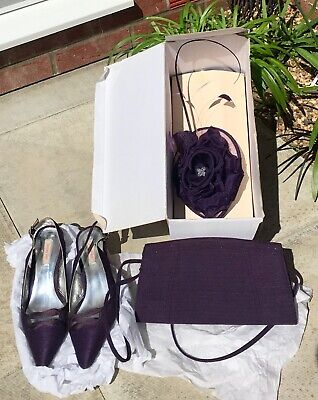 5a3140bd09719 JACQUES VERT DARK Purple Shoes Size 5, Bag & Fascinator - £30.00 ...