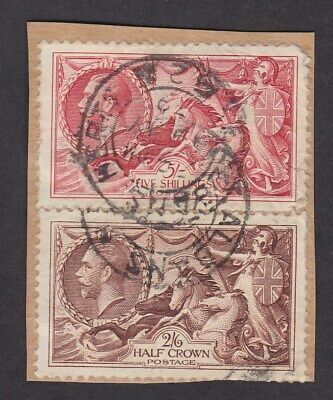 GB KGV 1939 small piece Seahorses 2/6 5/- SG450 -1 faults St Albans pmks
