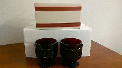 NEW Vintage 2 Avon Cape Cod Footed Glass Set Ruby Red in Box 1876 Glasses