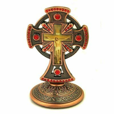 Bronze Tone Metal Standing Crucifix Cross - Decorated w/ Red Crystals 3 1/4 Inch