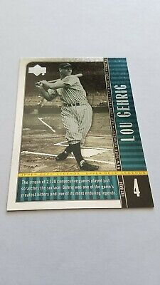 Lou Gehrig 2000 Upper Deck Legends #86 New York Yankees Baseball Card