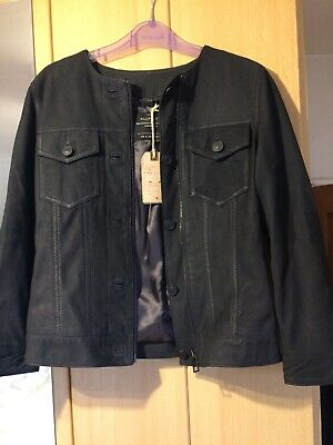 Womens Black Genuine Real leather jacket coat 3 quarter length #4Y