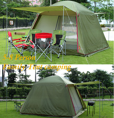 Outdoor Family Camping 5-8 Person Instant Tent double layer gazebo sun shelter