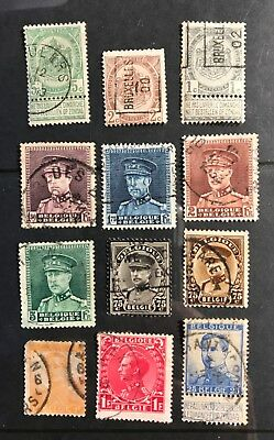 Belgium postage stamps  lot of 12 old