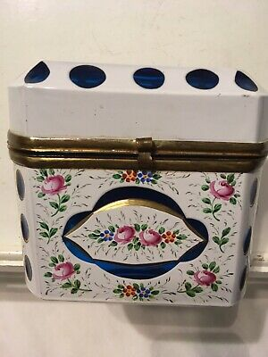 BOHEMIAN MOSER STYLE Hand Painted Enameled Glass Casket Box- Unmarked