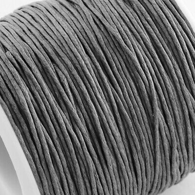 Waxed Cotton Cord Thread 1mm Grey for bead stringing bracelet necklace making