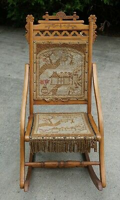 Stupendous E H Mahoney Folding Chair Wood Red Carpet Flying Bird Eagle Squirreltailoven Fun Painted Chair Ideas Images Squirreltailovenorg
