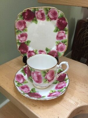 Royal Albert Old English Rose Tea Cup Saucer & Side Plate Trio