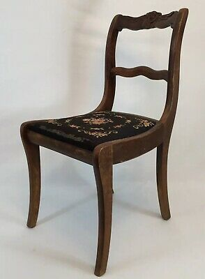 Duncan Phyfe CHAIR ANTIQUE NEEDLEPOINT Tell City SEAT DINING ROOM TABLE USA VTG