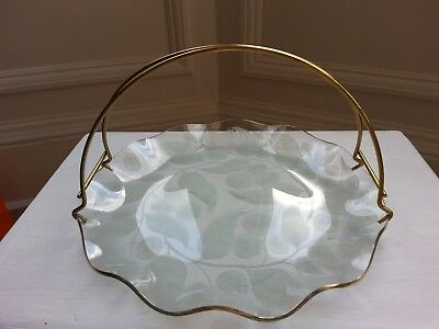 Vintage Chance Glass Calypto Fluted Gold Rim Cake/Serving Plate With Gold Handle