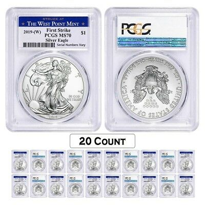 Lot of 20 - 2019 (W) 1 oz Silver American Eagle $1 PCGS MS 70 FS (West Point)