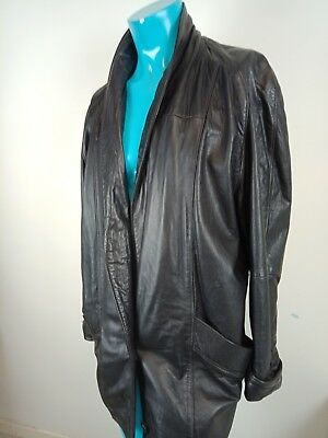 VINTAGE LEATHER Womens Jacket BLACK Styled in Italy SIZE 16 Good Condition SOFT