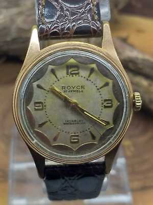 Vintage Royce Mens 21 Jewels Hand Winding Wrist watch  Gold Plated Swiss Made