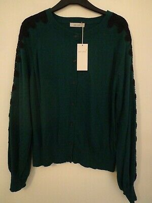 BNWT LADIES M/&S COLLECTION RANGE LONG SLEEVED WHITE//NAVY MIX CARDIGAN SIZE 24