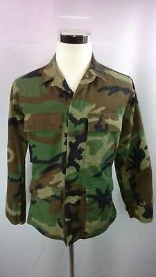 73b185ff1acdf Army Camouflage Woodland Button Front Military BDU Fatigues Shirt Top S  Short