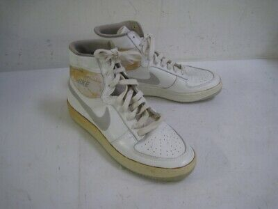 ac71c68144c20a VINTAGE 1984 NIKE White Leather High Top Shoes Grey Swoosh Size 12.5 ...