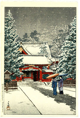 1931 Kawase Hasui Snow at Hie Shrine Original Japanese Woodblock Print SUPERB!