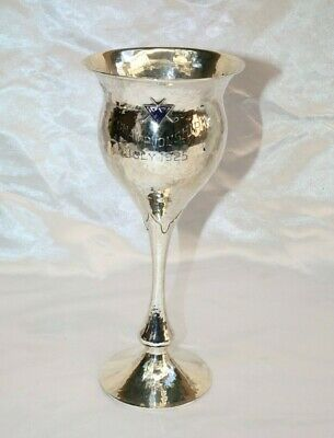 """Magnificent Art Deco Enameled Sterling Silver Hand Hammered Trophy """"Must See"""""""