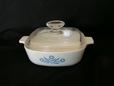 Vintage 1 Qt Corning Ware Square Casserole Dish Blue Cornflower With Lid