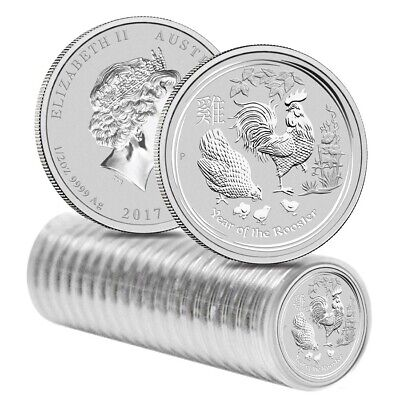 Roll of 20 - 2017 1/2 oz Silver Lunar Year of The Rooster BU Australian Perth
