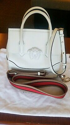 0e8aefdb99c1 Versace White Medium Palazzo Empire Handbag Purse Calfskin Leather USED 2  straps