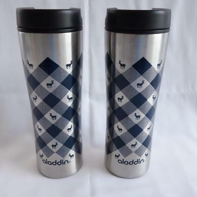 321101985c5 Aladdin Stainless Steel Tumblers Checked Pattern with Deer 16 Oz Set of 2
