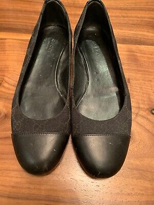 ba35b2bcaa3 Women Black Gucci Ballet Flats Canvas Leather Round Toe Size 8 38 Barely  Used