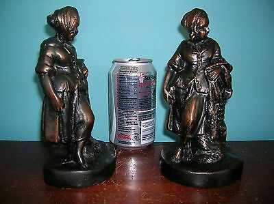 Vintage Victorian girl Charles Dickens Victor Hugo character bookends cast metal