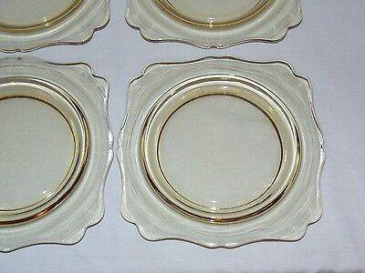 "VINTAGE ANTIQUE 1930's YELLOW DEPRESSION GLASS  7.25"" CAKE DESSERT  PLATES"